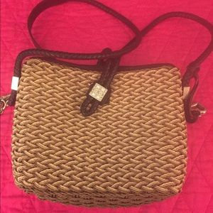 Brighton straw woven shoulder purse.